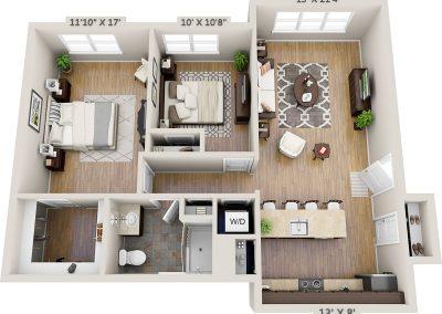 Two bedroom 3D floor plan