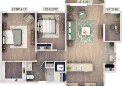 Two-bedroom 2D floor plan with study