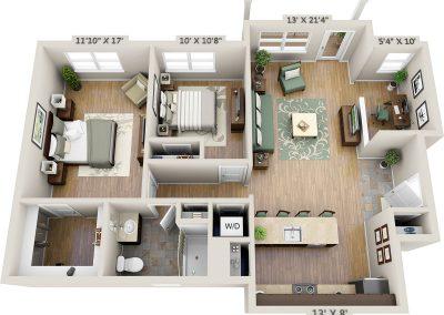 Two-bedroom 3D floor plan with study