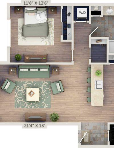 One-bedroom 2D floor plan without study