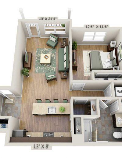 One-bedroom 3D floor plan without study