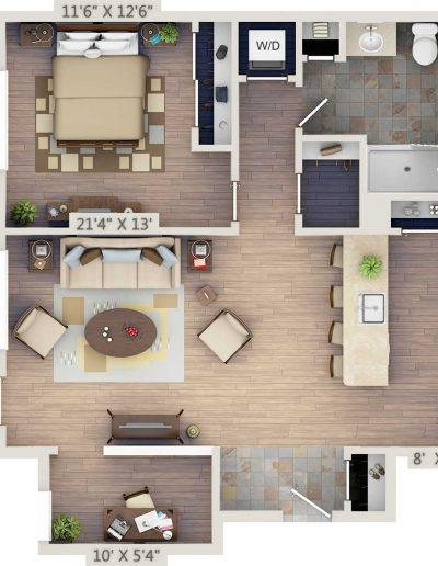 One-bedroom 2D floor plan with study