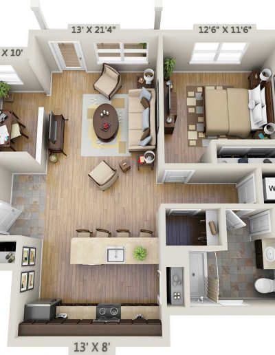 One-bedroom 3D floor plan with study